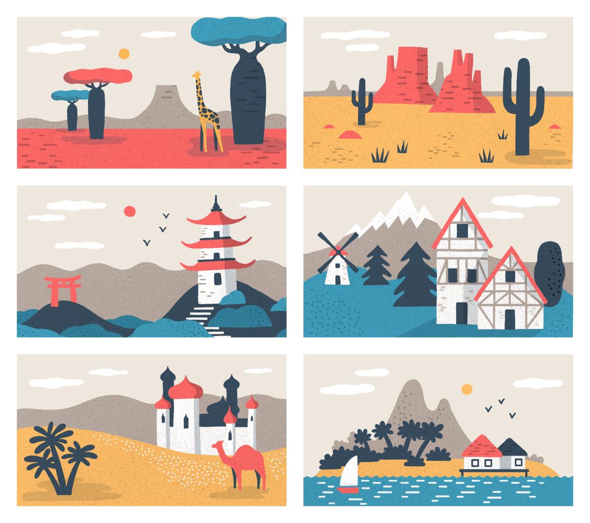 Illustrazioni Destinazioni di viaggio realizzate per il forum di Atlas Obscura © Silvia Bettini