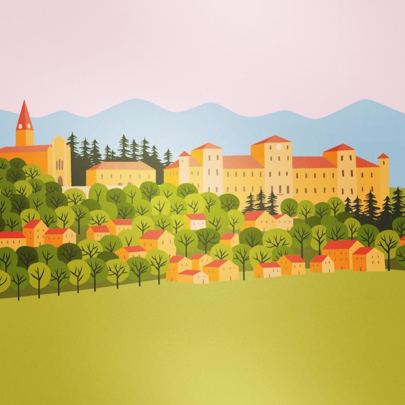 Scuola Materna Magliano Alfieri: decorazioni murali illustrate © Silvia Bettini