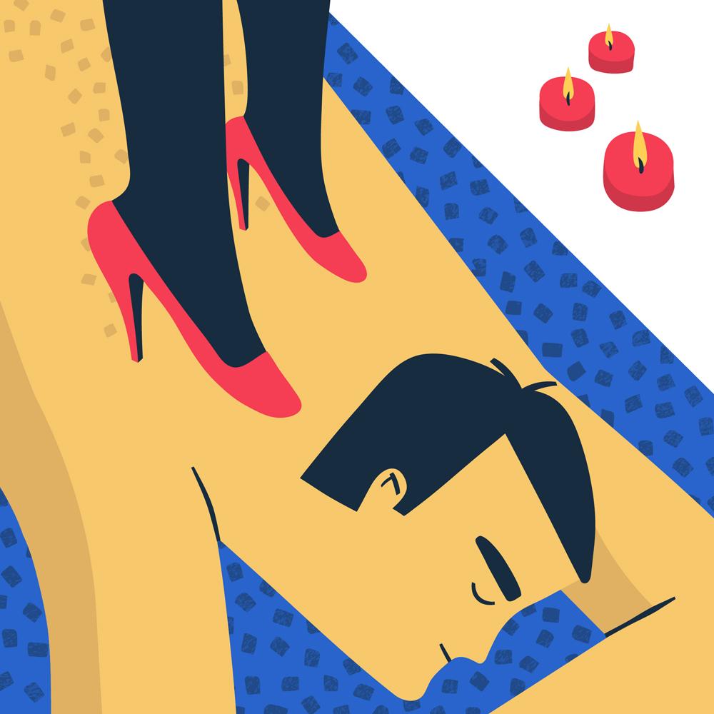 Illustrazione Massaggio coi piedi @ Silvia Bettini