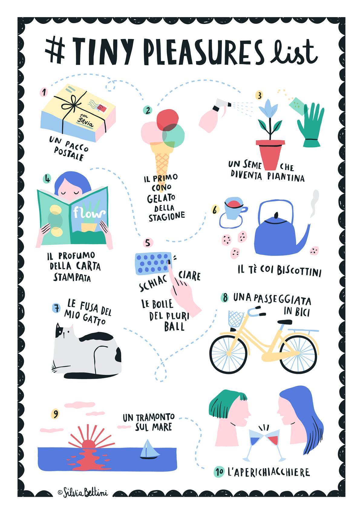 Illustrazione Tiny pleasures list @ Silvia Bettini
