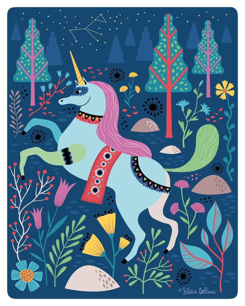 Illustrazione Unicorno per Wonderful Objects © Silvia Bettini