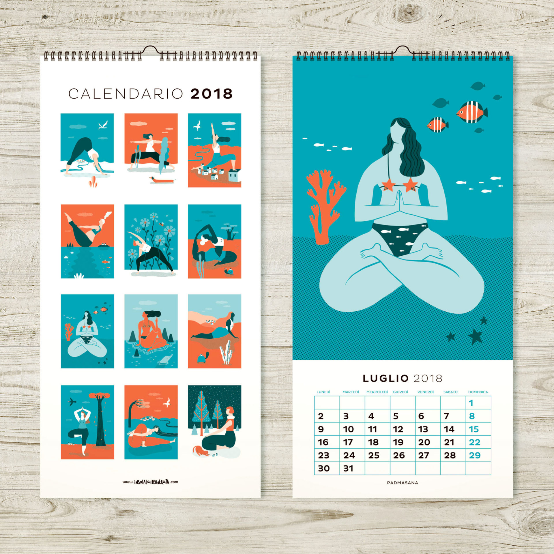 Calendario Illustrato Yoga Mockup