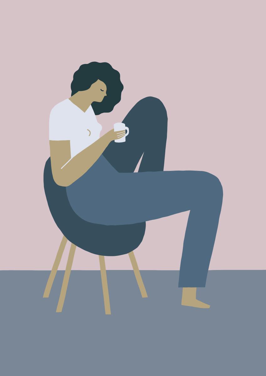 Illustrazione Mindfulness Lady realizzata con Adobe Draw per iPad Pro © Silvia Bettini