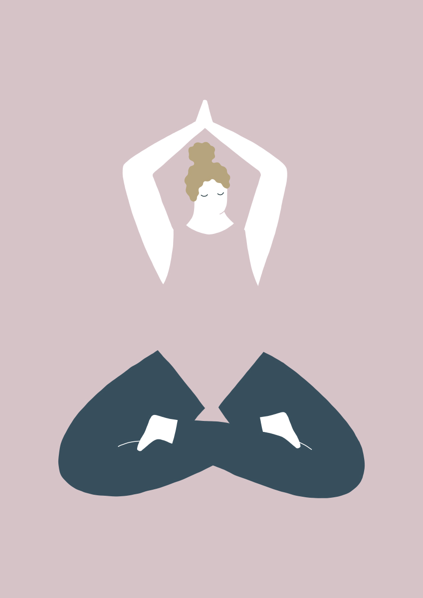 Illustrazione editoriale Mindfulness Yoga Lady realizzata con Adobe Draw per iPad Pro © Silvia Bettini
