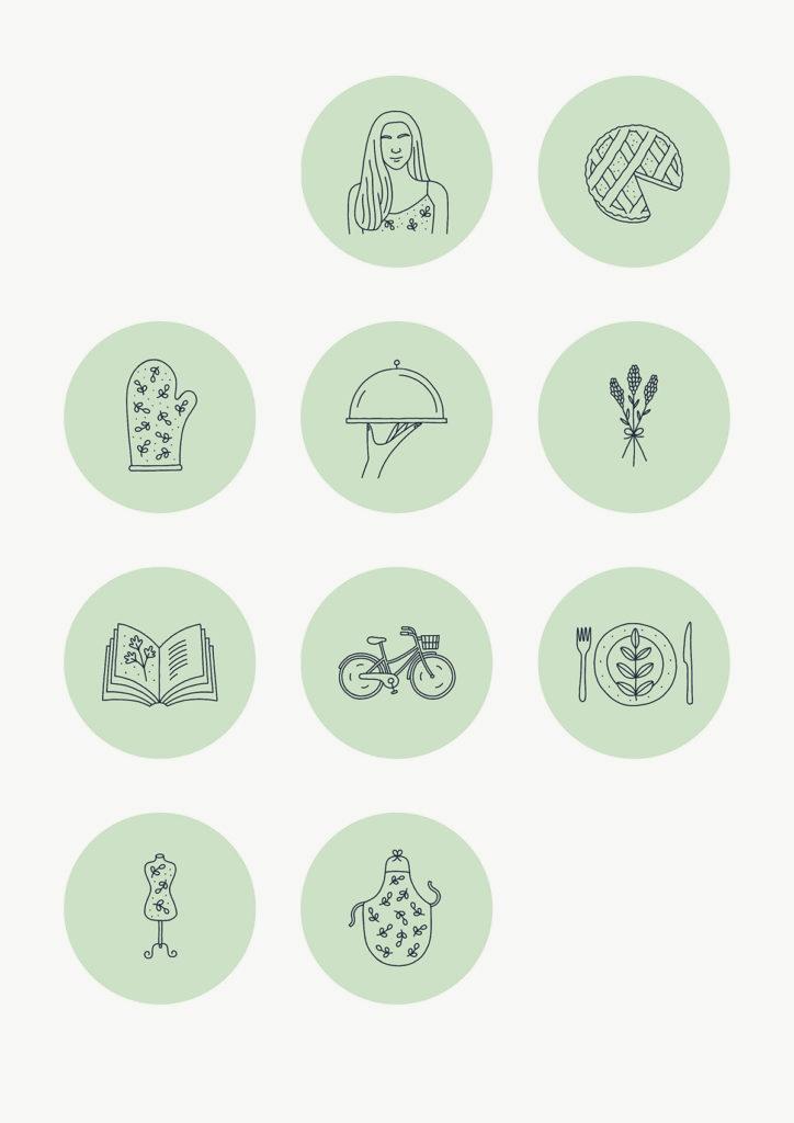 Icone monocromatiche illustrate per Storie in evidenza Instagram del profilo di Cucina Botanica